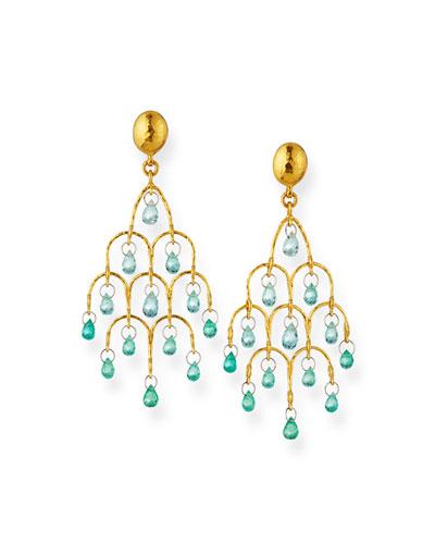 22k Gold Delicate Dew Emerald Chandelier Earrings