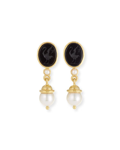 19k Gold Crane Intaglio & Akoya Pearl Drop Earrings, Black