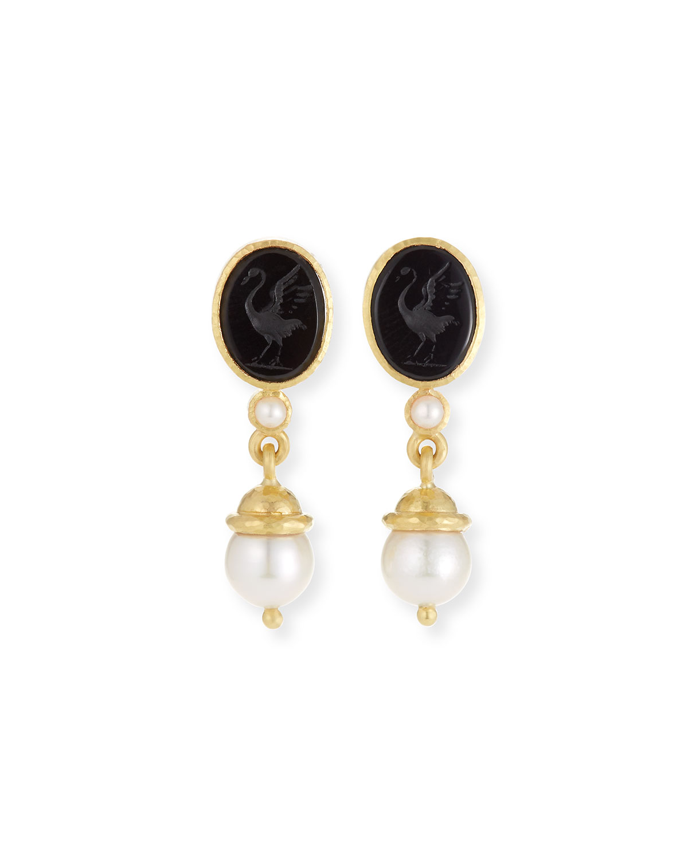 19K Gold Crane Intaglio & Akoya Pearl Drop Earrings, Black