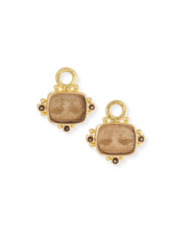 ELIZABETH LOCKE 19K Gold Two Cranes Venetian Glass Earring Charms