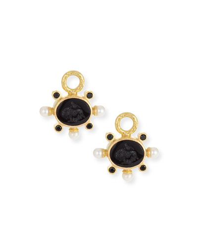 19k Gold Tiny Lion Intaglio & Pearl Earring Charms