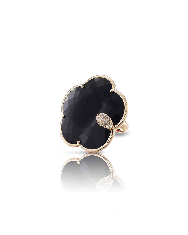 PASQUALE BRUNI Bon Ton Ton Joli 18K Rose Gold Onyx Ring W/ Diamonds, Size 6