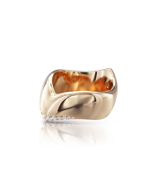 PASQUALE BRUNI Sensual Touch 18K Rose Gold Diamond-Trim Ring, 0.19Tcw