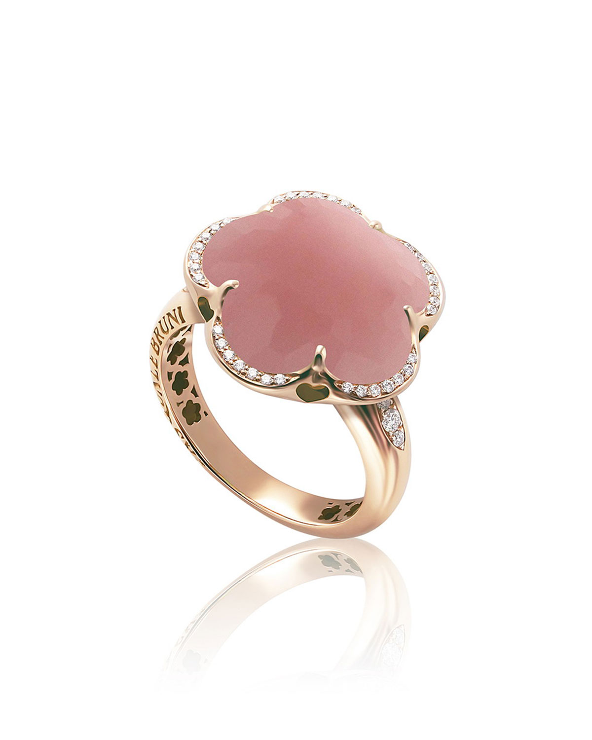 PASQUALE BRUNI Bon Ton 18K Rose Gold Pink Chalcedony Flower Ring W/ Diamonds, Size 6 in Pink/Rose Gold