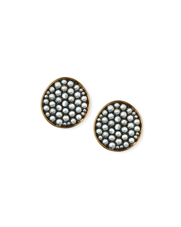 18k Gold & Blue Topaz Earrings
