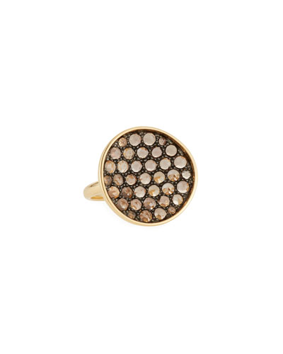 18k Gold & Smoky Quartz Ring, Size 7