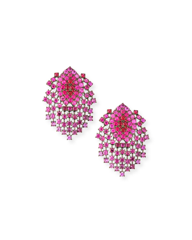 ALEXANDER LAUT 18K Black Gold Ruby Dangle Clip-On Earrings