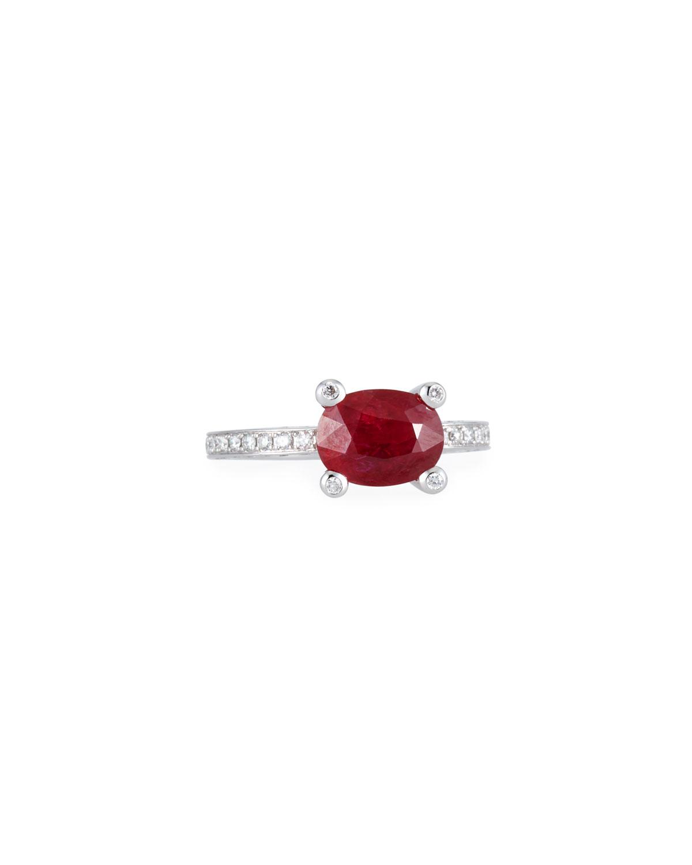 ALEXANDER LAUT Sunset 18K White Gold Ruby & Diamonds Ring, Size 7