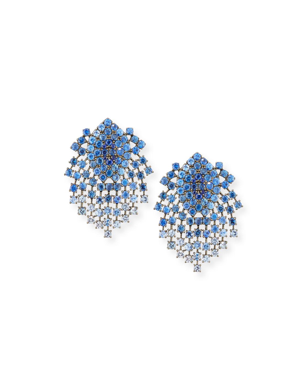 ALEXANDER LAUT 18K Black Gold Sapphire Clip-On Dangle Earrings