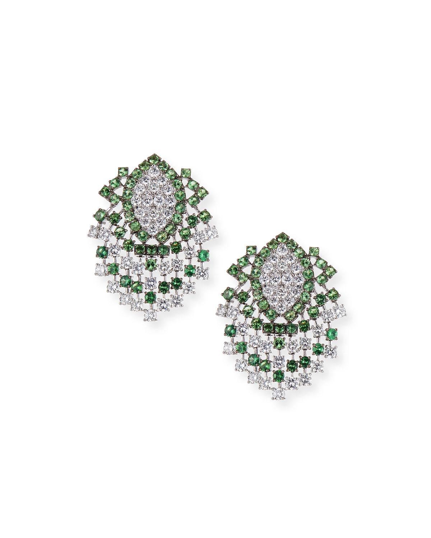 ALEXANDER LAUT 18K White Gold Tsavorite & Diamond Earrings