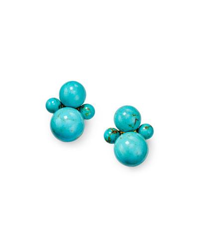 Nova 18k Gold Turquoise Clip-On Earrings