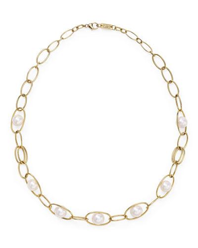 Nova 18k Gold & Pearl Link Necklace