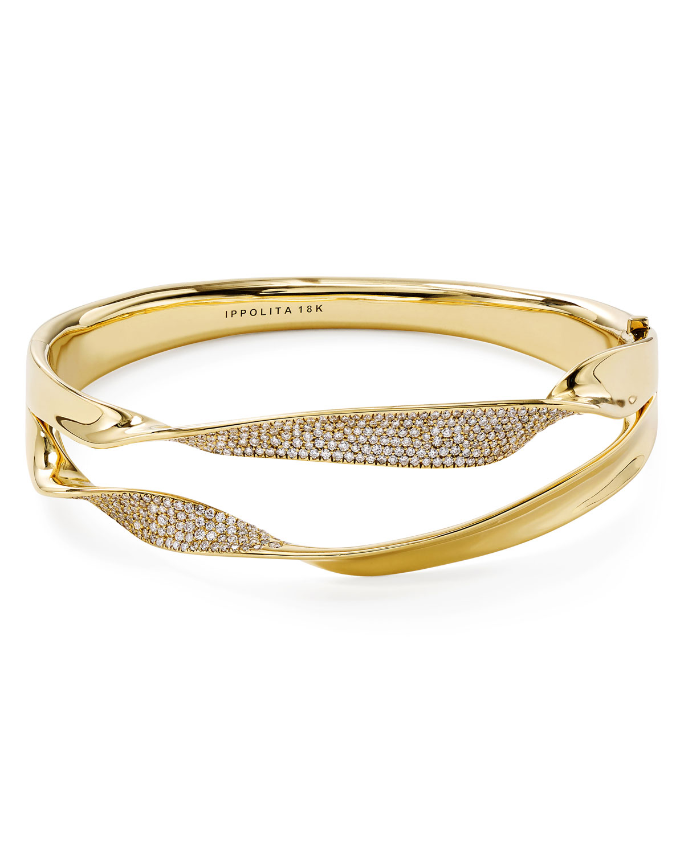 18k Gold & Diamond Stardust Double-Ribbon Bangle