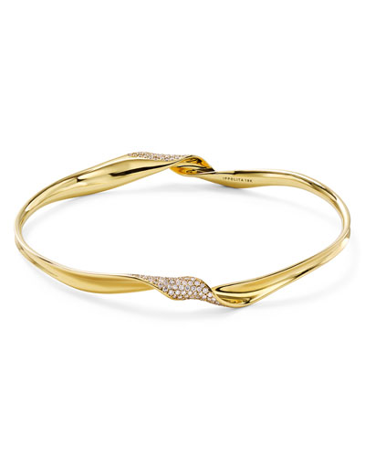 18k Gold Classico Twisted Ribbon Diamond Bracelet