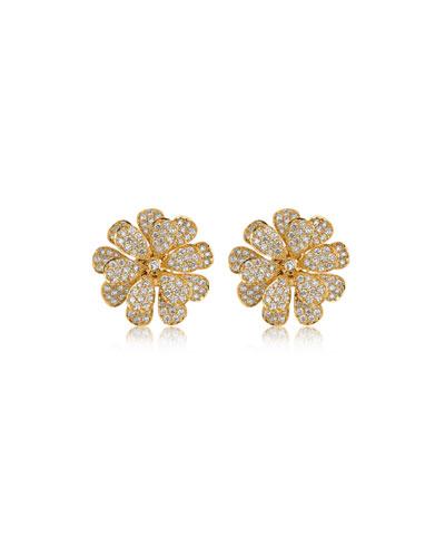Secret Garden 18k Gold & Diamond Flower Stud Earrings