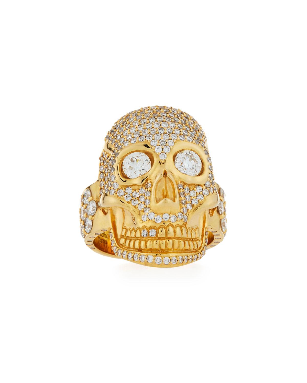 BUDDHA MAMA 20K Gold & Diamond Skull Ring, Size 8.5