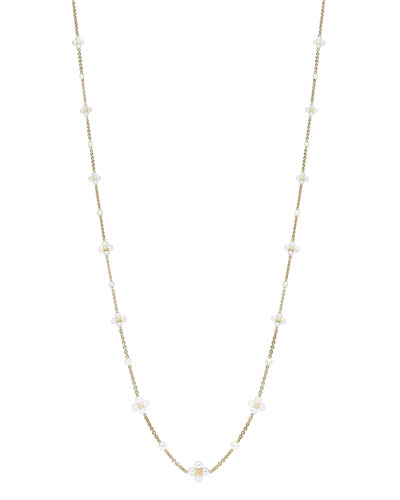 Long Pearl Sequence Necklace in 18k Gold