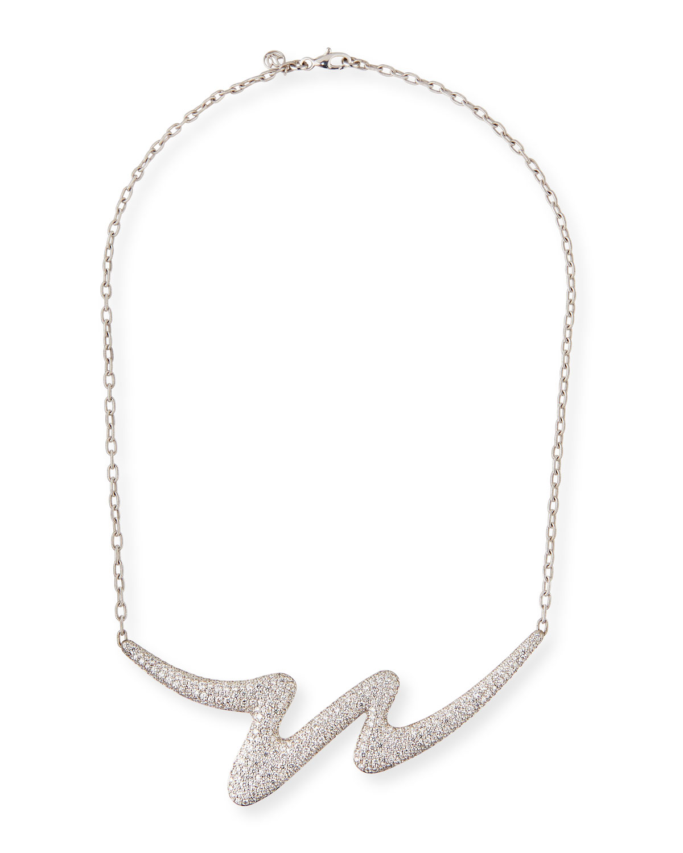 CARELLE Brushstroke 18K White Gold Diamond Necklace