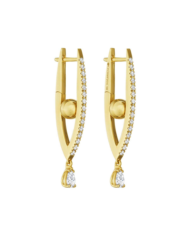 18k Gold Small Diamond Marquise Hoop Earrings