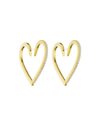 18k Gold Large Diamond Heart Hoop Earrings
