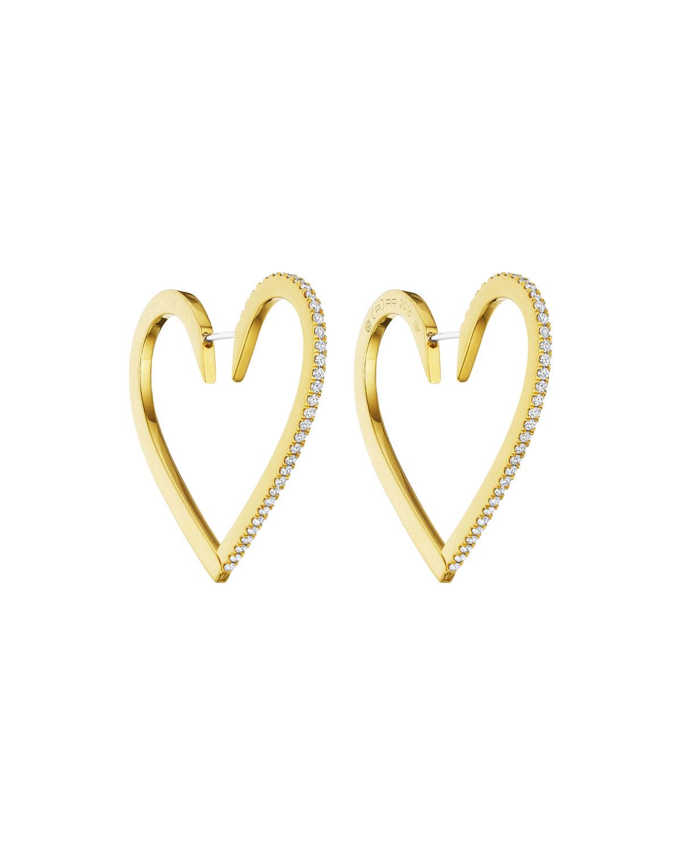 Cadar 18k Gold Large Diamond Heart Hoop Earrings