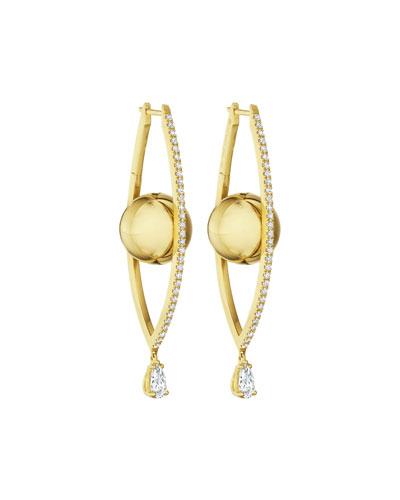 18k Gold Large Diamond Marquise Hoop Earrings