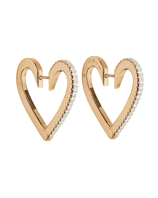 18k Rose Gold Medium Diamond Heart Hoop Earrings