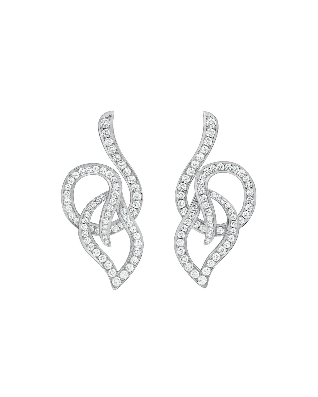 CARELLE 18K White Gold Pave Diamond Leaf Circle Drop Earrings
