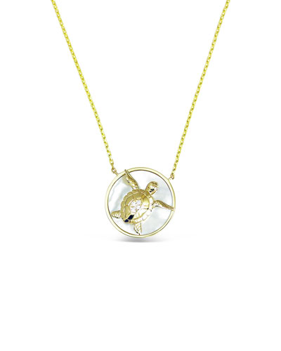 18k Gold Happy Turtle & Mother-of-Pearl Pendant Necklace