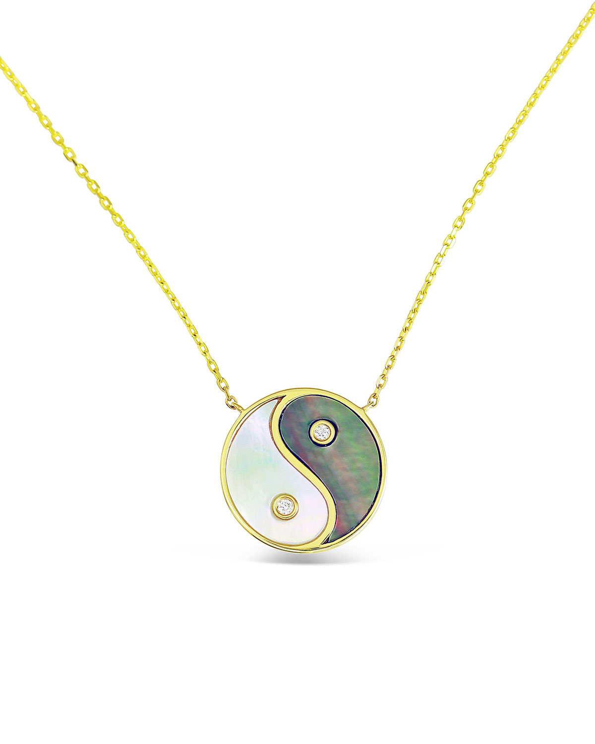 18k Gold & Mother-of-Pearl Yin Yang Pendant Necklace