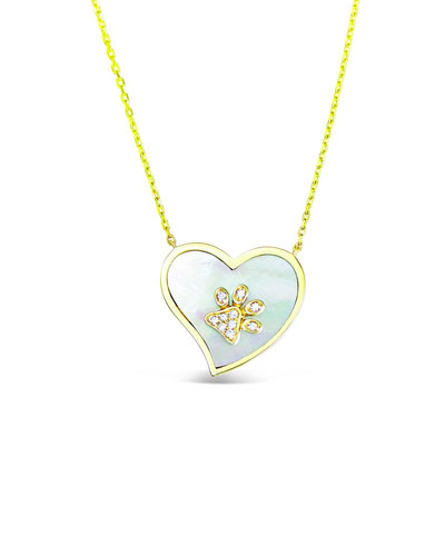 18k Gold Diamond Paw & Mother-of-Pearl Heart Pendant Necklace