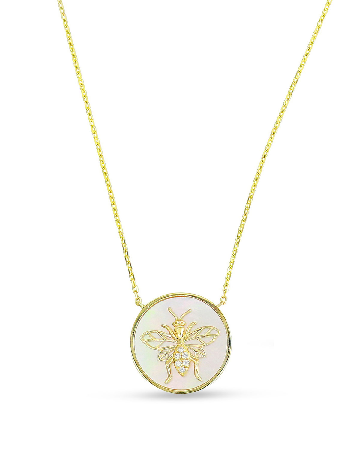 FREDERIC SAGE 18K Gold, Diamond Bee & Mother-Of-Pearl Pendant Necklace