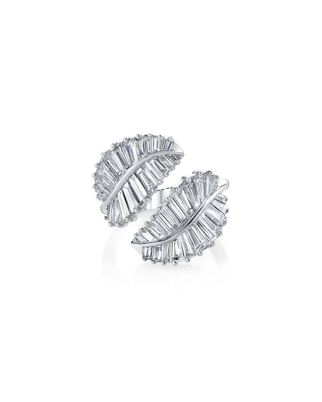 Palm Leaf 18k White Gold & Diamond Ring