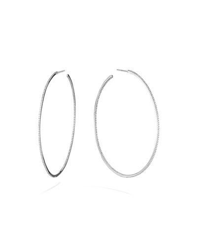 Skinny 14k White Gold Diamond Hoop Earrings