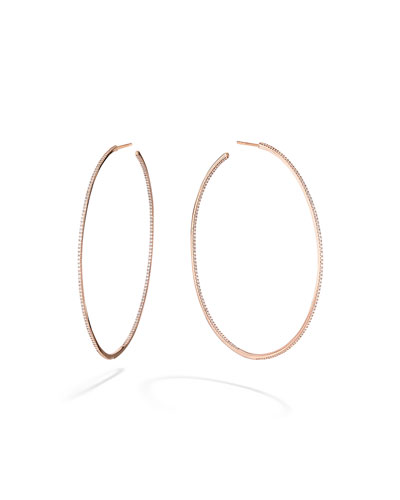 Skinny 14k Rose Gold Diamond Hoop Earrings
