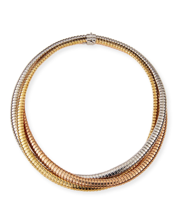 Via Bagutta 18k Tricolor Gold Crossover Necklace
