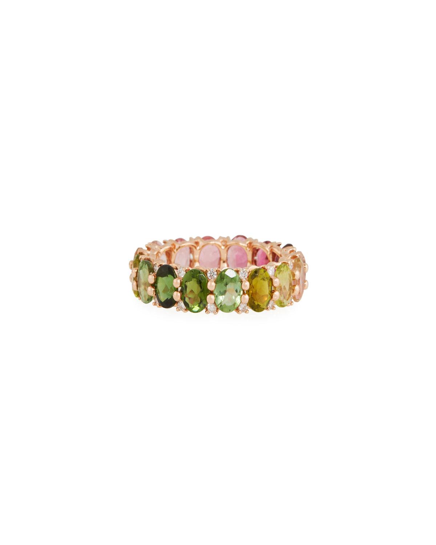 STEVIE WREN 14K Rose Gold Watermelon Tourmaline & Diamond Ring, Size 7