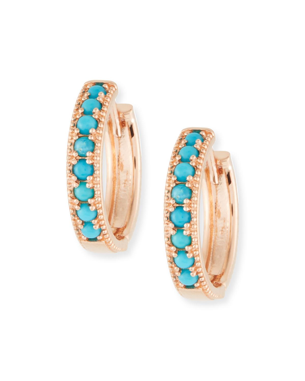 STEVIE WREN 14K Rose Gold Turquoise Hoop Earrings