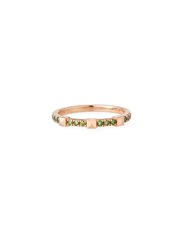 STEVIE WREN 14K Rose Gold Green Diamond Pyramid Ring, Size 7