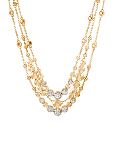 Dot 18k Gold Hammered Multi-Row & Diamond Necklace