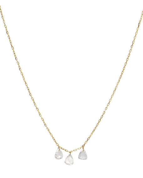 Nicha Jewelry 18k Gold Triple Diamond Teardrop Necklace