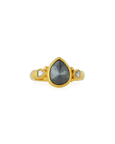 24k Black Diamond Teardrop Ring, Size 6