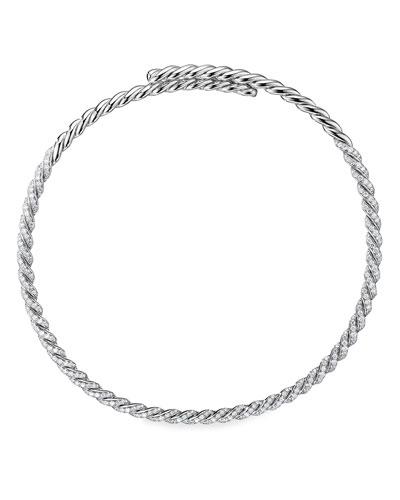Pave Flex 18k White Gold Diamond Necklace