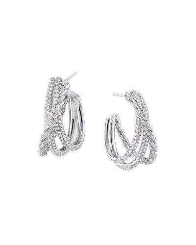 Pave Flex 18k White Gold Diamond Shrimp Earrings