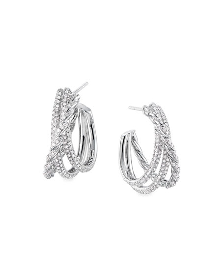 David Yurman Paveflex 18k White Gold Diamond Shrimp Earrings