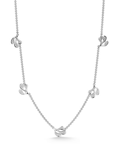 Sea Leaf 18k White Gold Diamond Station Necklace