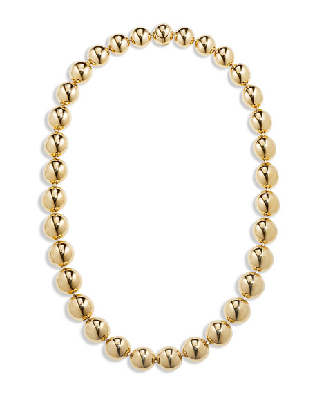 "CADAR 18k Gold Bead Necklace, 16""L"