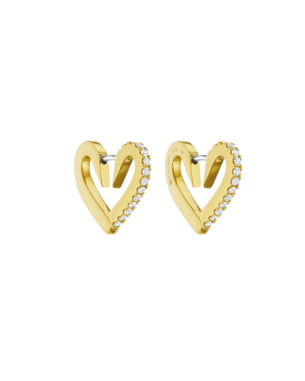 Cadar 18k Gold Small Diamond Heart Hoop Earrings