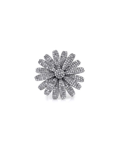 Large Diamond Daisy Ring, Size 7