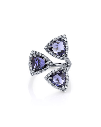 Three Graces Iolite & Diamond Ring, Size 7